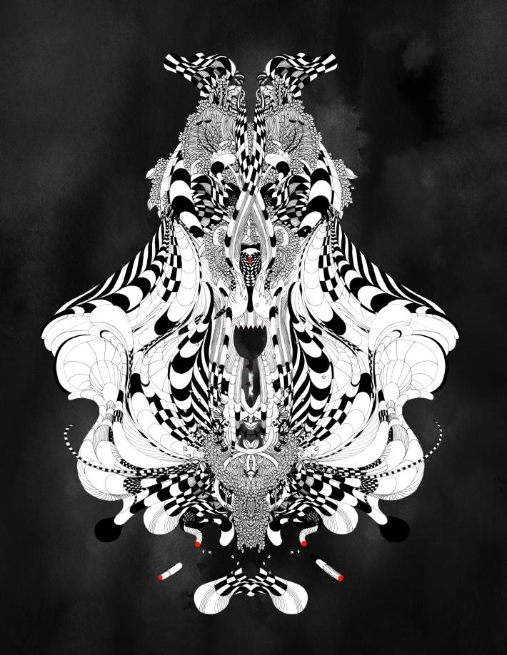 Noumeda Carbone art feature on vagina dentata #ink #markers #noumeda #flowers