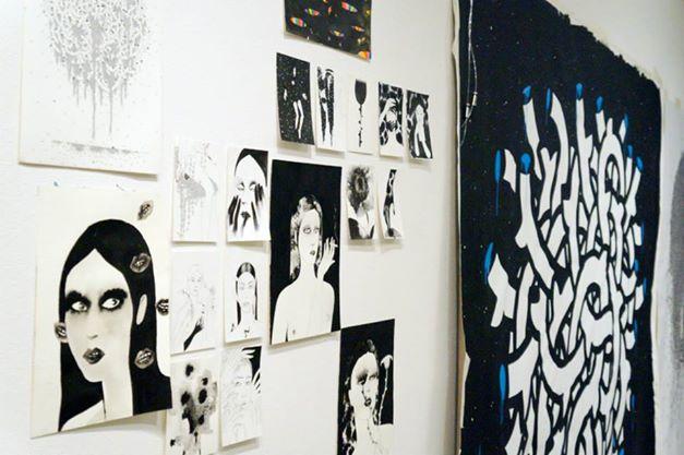 Live painting ,drawing, noumeda, line art, ink, cotton paper, live painting, artist residency, follow the line, contemporary, art,,Follow the line - artist residency in florence - noumeda carbone original art