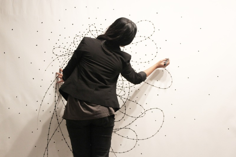 Live painting ,drawing, noumeda, line art, ink, cotton paper, live painting, artist residency, follow the line, contemporary, art,