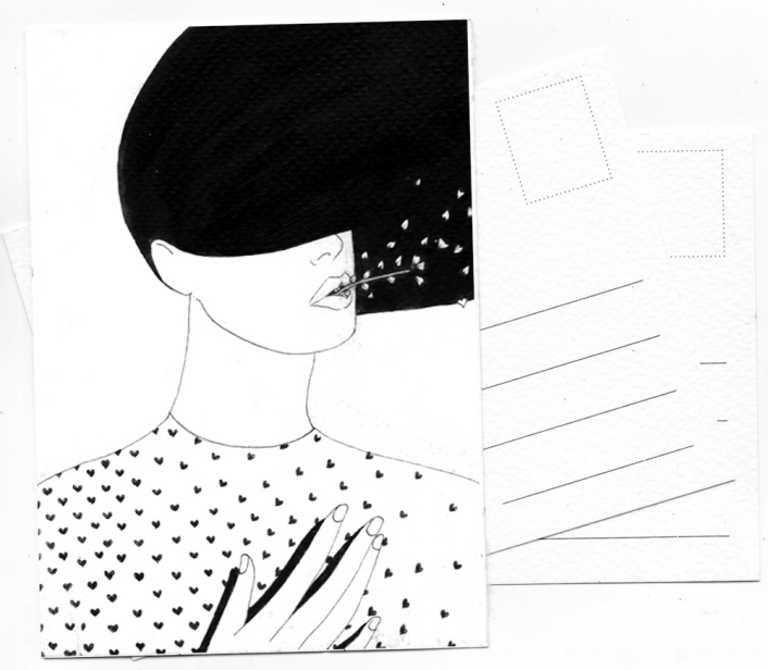 postcard original drawing by noumeda