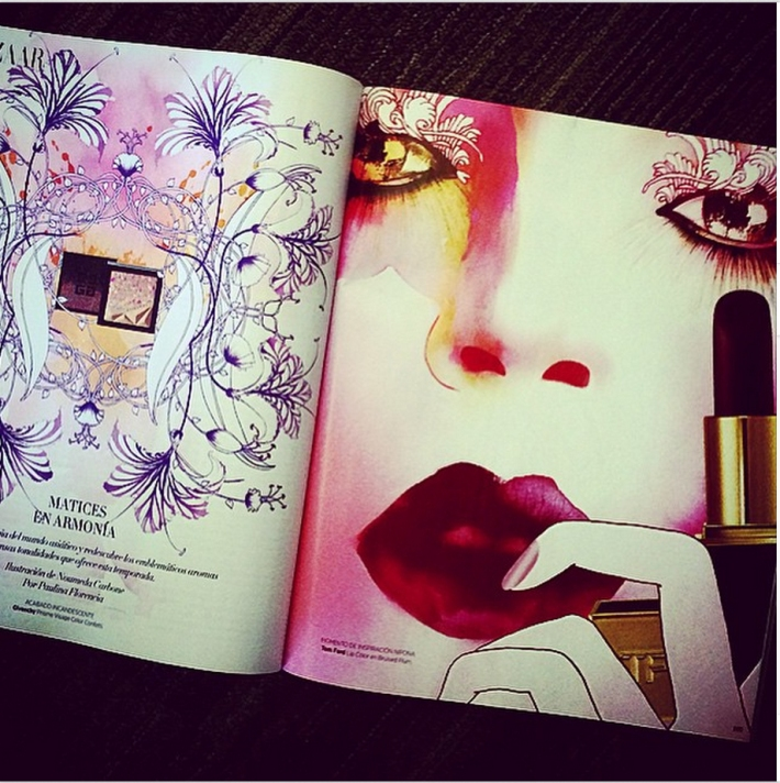 #illustration #tomford #givenchyo #makeup #lipstick #paulinaflorencia #HarpersBazaar #BeautyBAZAAR #editorial #SalvatoreFerragamo