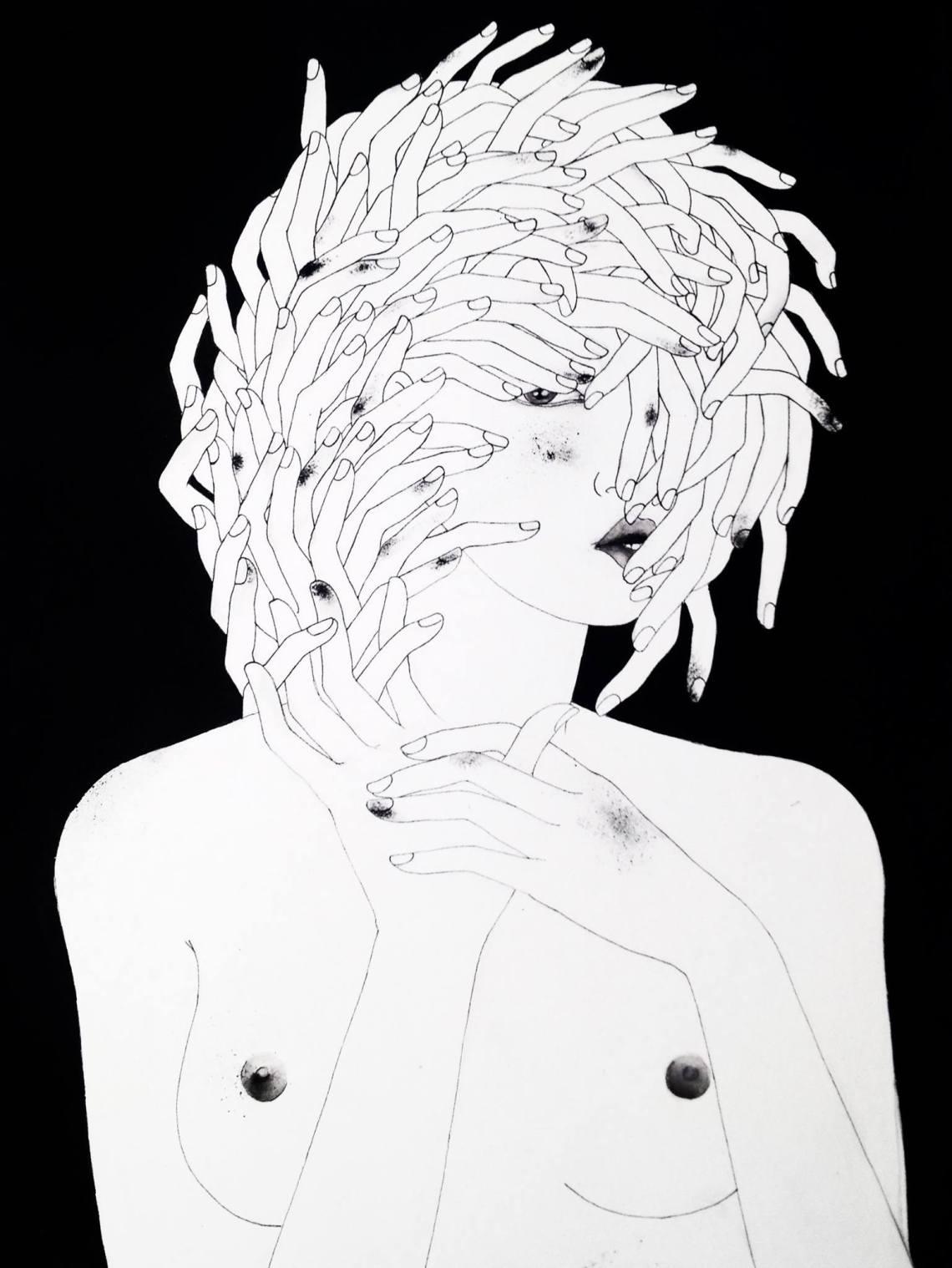 #URBANINTIMACY #minisizeart, #drawing #London #exhibition #noumeda #cottonpaper #artonpaper #blackandwhite #art #contemporary #drawing #dessincontemporain #italian #artist #coventgarden #thestrandgallery #londoncontemporary