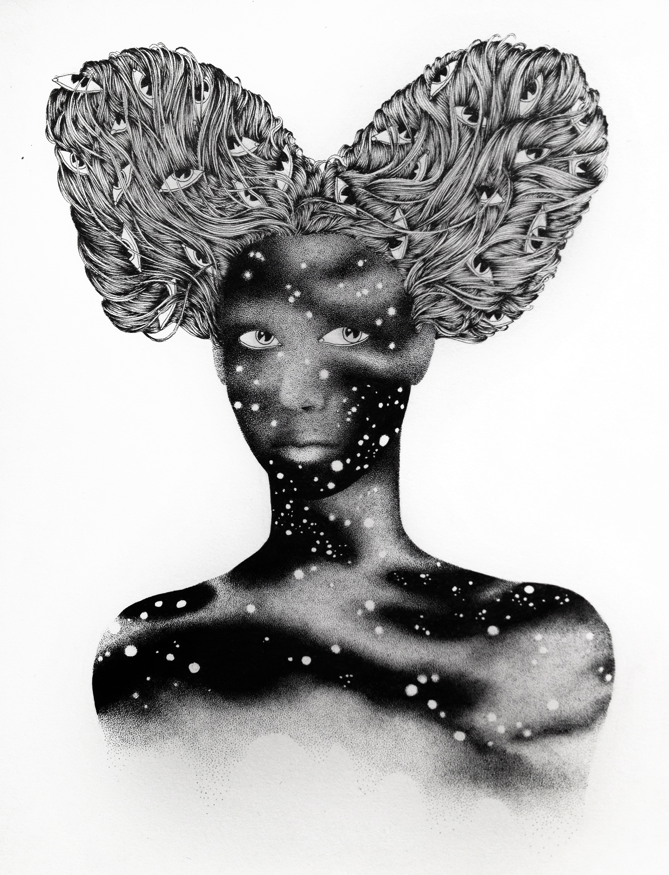 #URBANINTIMACY #surreal #minisizeart, #drawing #London #exhibition #noumeda #cottonpaper #artonpaper #blackandwhite #art #contemporary #drawing #dessincontemporain #italian #artist #coventgarden #thestrandgallery #londoncontemporary